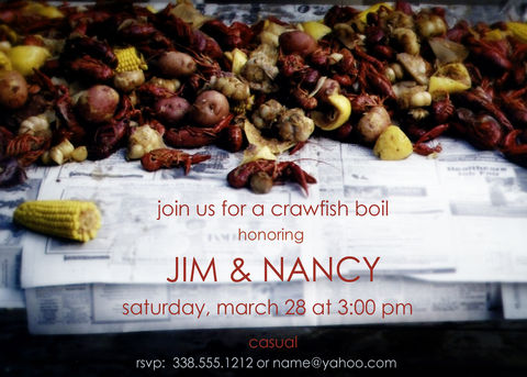 crawfish,boil,invitation, spring, new orleans, seafood
