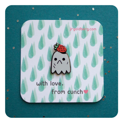 Strawberry,Ghost,Pin,-,Rainy,Day,Brunch,Collection,Pins, enamel pin, pingame, ghost, strawberry, gunmetal, cute, metal