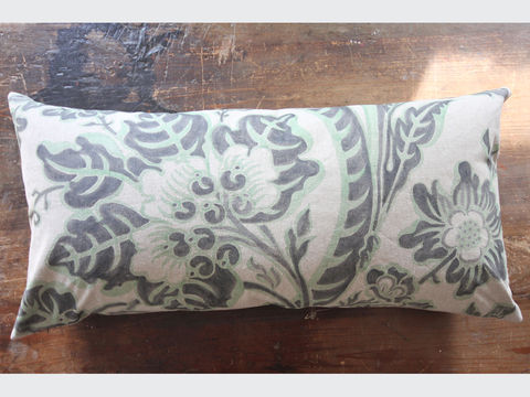 painted,cushion:,Seed,Head,large cushion, unbleached, vintage, linen, hand painted, bold, graphic, floral, pattern, stylised flower, twisting vine,  seeds, pale green, charcoal black, large seating area, bench,  floor cushion