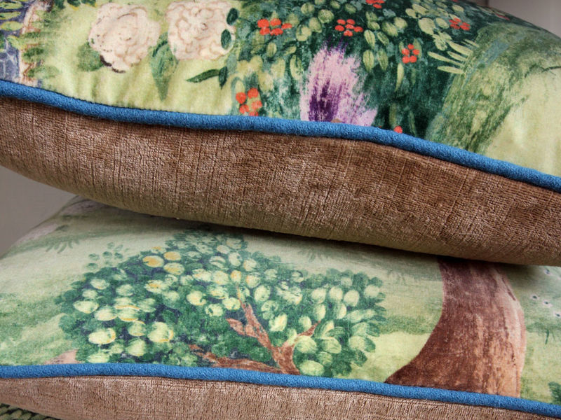 Cushion: Peacock Garden (in Green/Coral) - product images  of