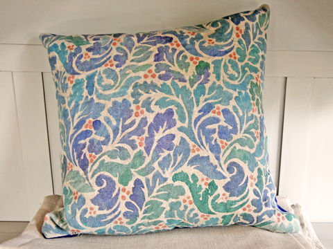Painted,Cushion:,Acanthus,(navy),acanthus, stencil, linen, hand painted, wool, serge, felt, peacock, blue, green, 18, feather pad, pattern, sofa, seating, scatter cushion