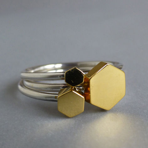 Hexagon,ring,set,-,yellow,gold,vermeil, ring set, geometric, jewellery, rose gold