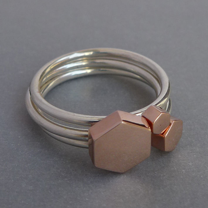 Hexagon ring set - rose gold vermeil - product images  of