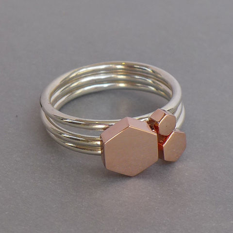 Hexagon,ring,set,-,rose,gold,vermeil,geometric, ring stack, ring set, rose gold, hexagon