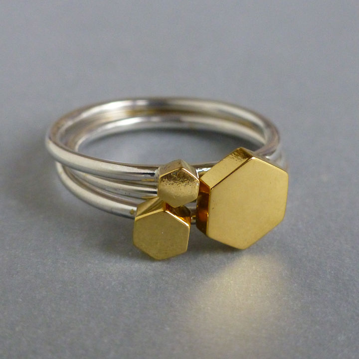 Hexagon ring set - yellow gold vermeil - product images  of
