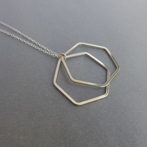 Double,silver,hexagon,wire,pendants,on,18,chain,geometric pendant, necklace, silver