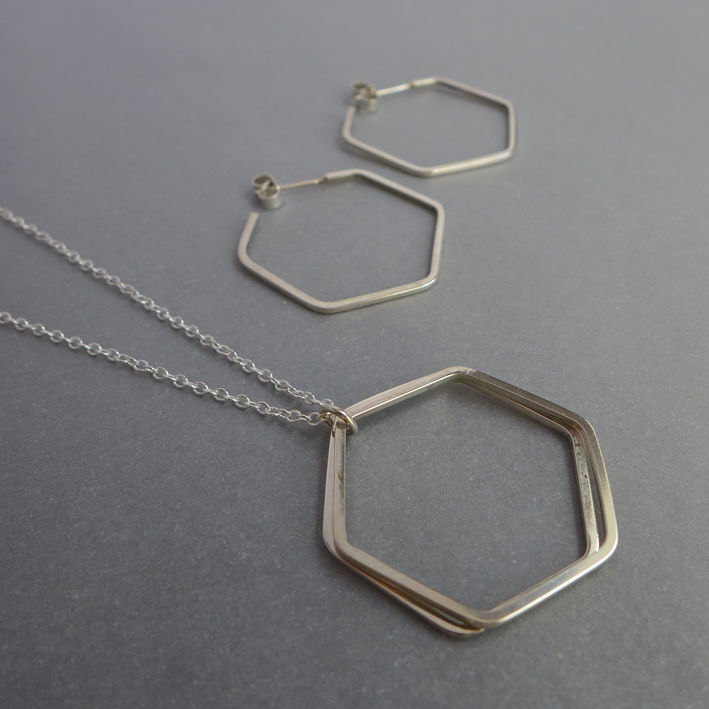 "Double silver hexagon wire pendants on 18"" chain - product images  of"