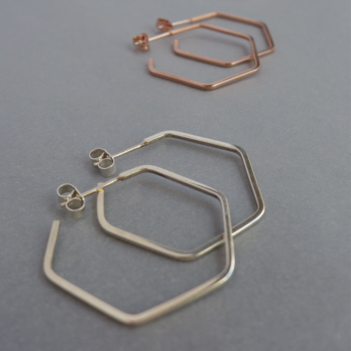 Hexagon hoop silver earrings - product images  of