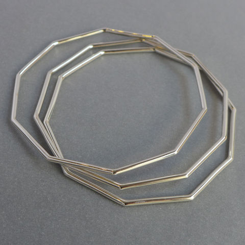 Triple,bangle,set,decagon, geometric bangle, geometric jewellery, rose gold yellow gold