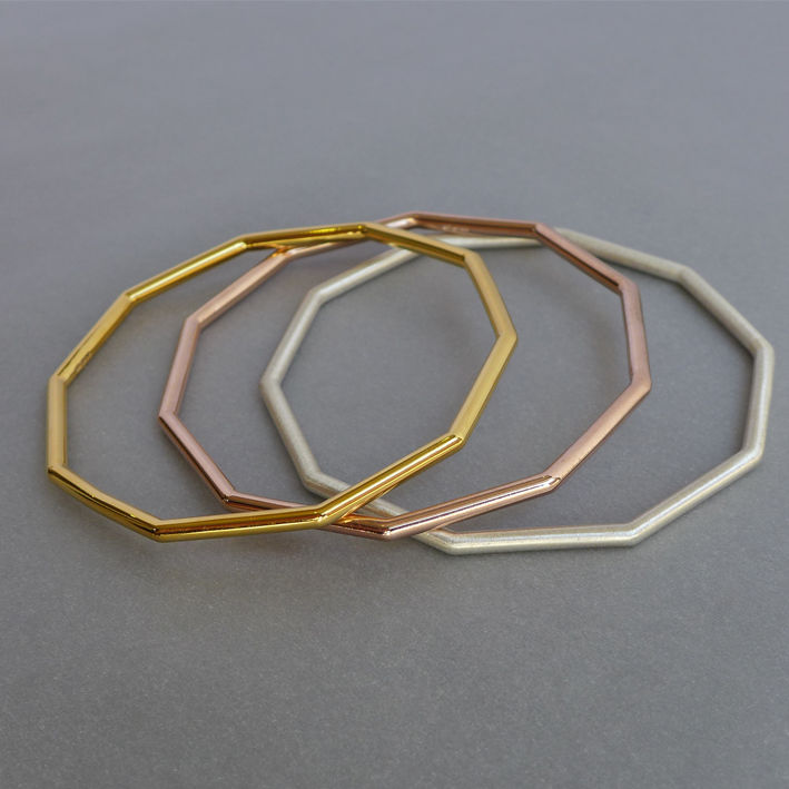Chunky decagon bangle - choice of 3 finishes - product images  of