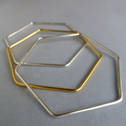 Hexagon,treble,bangle,set,bangle set, hexagon, geometric bangle, jewellery, laila smith jewellery