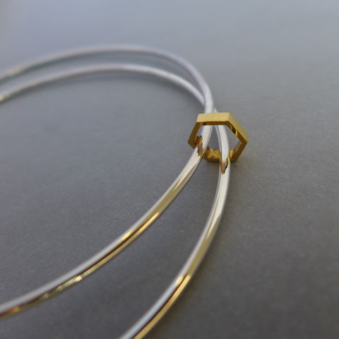 Double,hexagon,element,bangle, bracelet, geometric, solid silver, gold plate, gold vermeil, laila smith