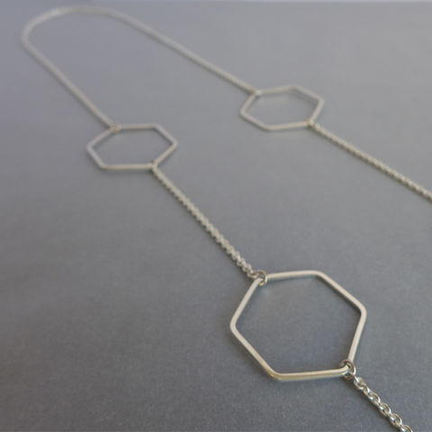 Long,hexagon,necklace,laila smith, geometric necklace, hexagon, geometry