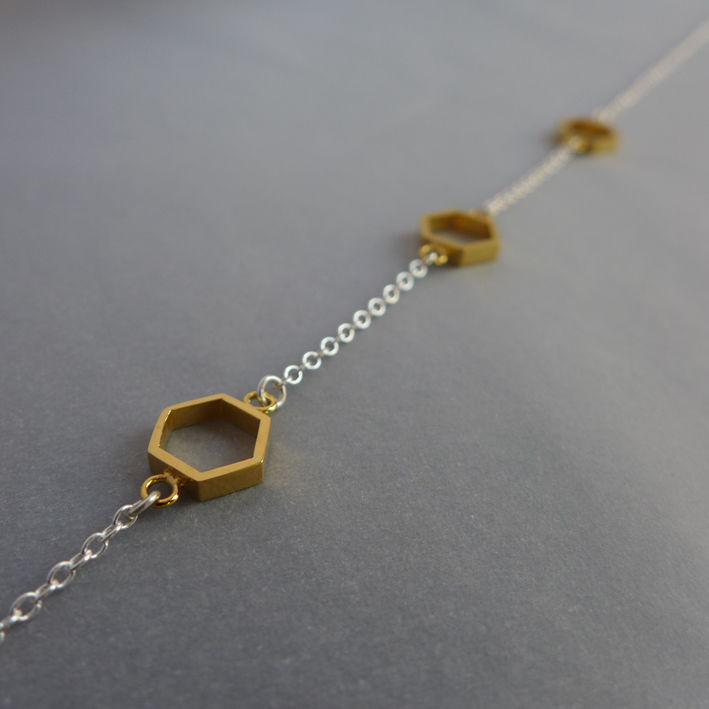 Triple hexagon short necklace in silver and yellow gold vermeil - product images  of