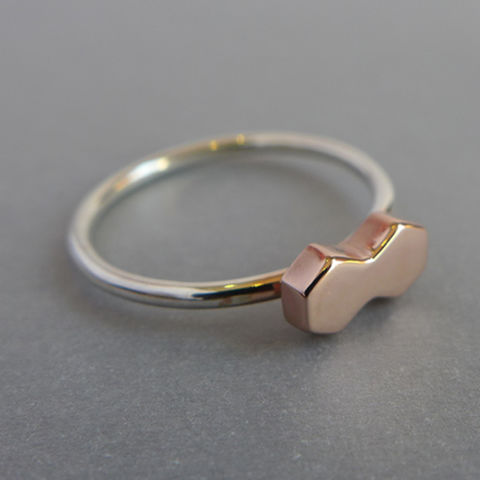 Double,hexagon,ring,ring set, geometric, rose gold, yellow gold, vermeil