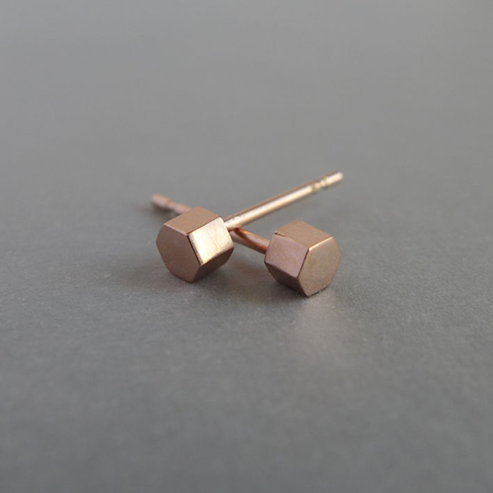 Small hexagon earrings in a choice of silver, yellow gold vermeil or rose gold vermeil - product images  of