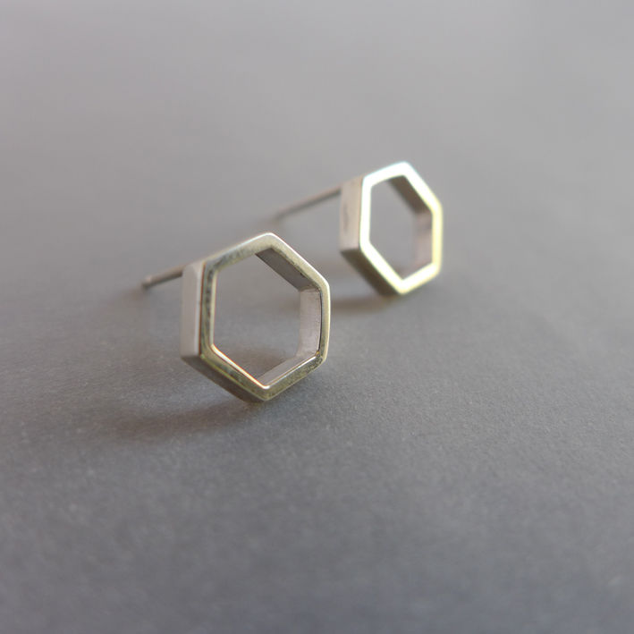 Hexagon slice earrings in silver - product images  of