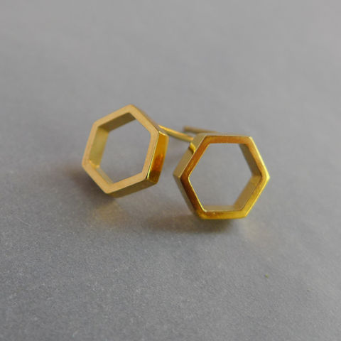 Hexagon,slice,earrings,in,yellow,gold,vermeil,geometric earrings, necklace, silver, laila smith, hexagon, yellow gold vermeil