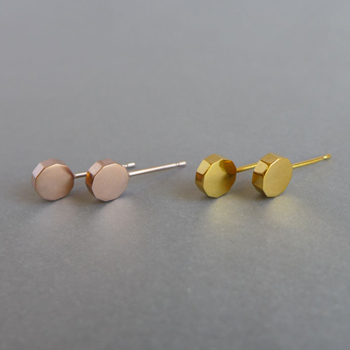 Decagon slice earrings in rose gold vermeil - product images  of