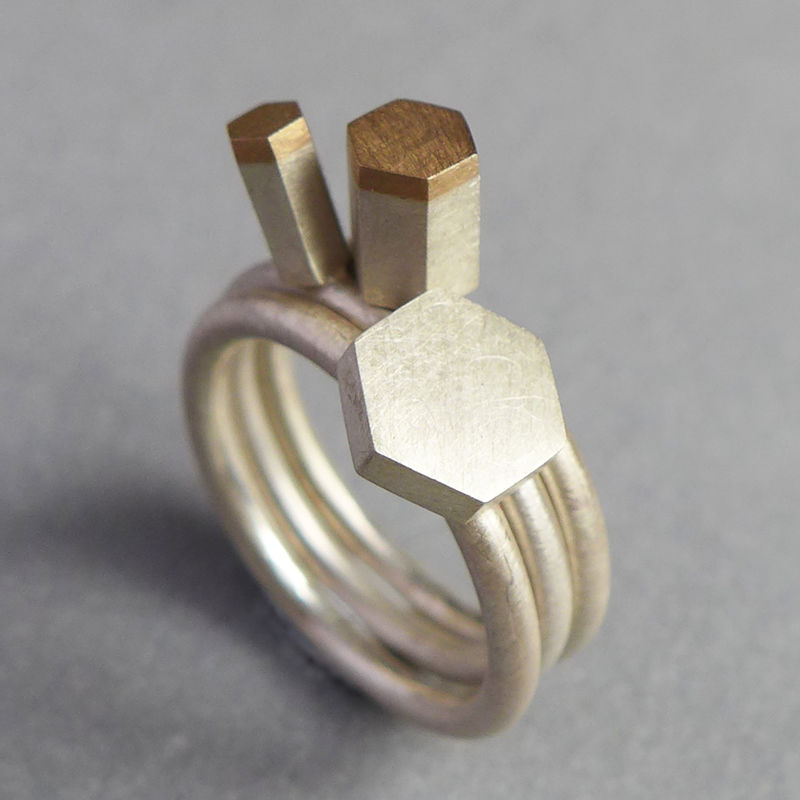 Geo 18ct and silver hexagon ring set - product images  of