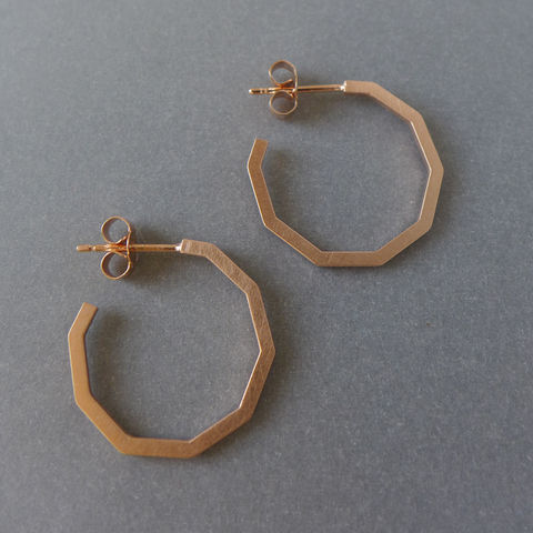 Decagon,hoop,earrings,rose,gold,vermeil,Geometric jewellery, geometric necklace, hexagon, laila smith, decagon, gold, rose gold, hoop earring