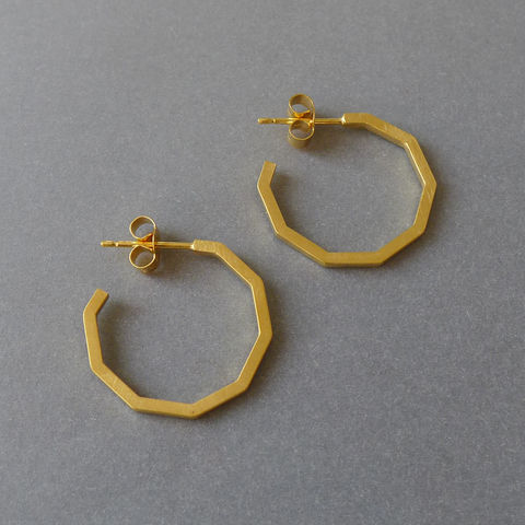 Decagon,hoop,earrings,yellow,gold,vermeil,Geometric jewellery, geometric necklace, hexagon, laila smith, decagon, gold, rose gold, hoop earring