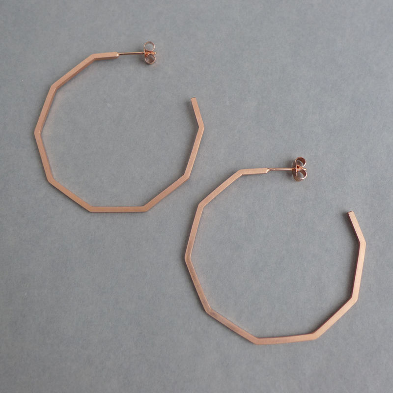 Large decagon hoop earrings rose gold vermeil - product images  of