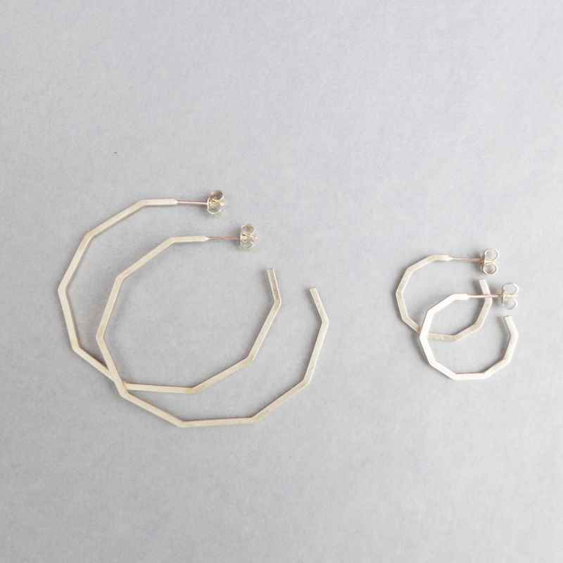 Large silver decagon hoop earrings  - product images  of