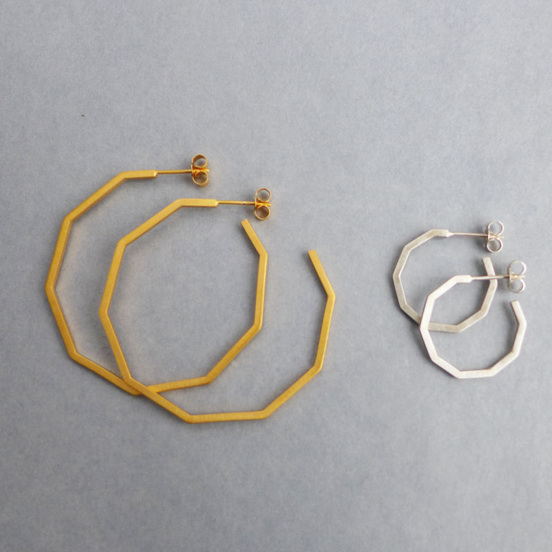 Large decagon hoop earrings yellow gold vermeil - product images  of