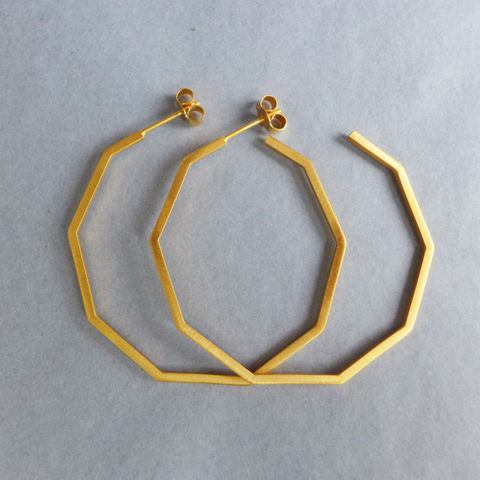 Large,decagon,hoop,earrings,yellow,gold,vermeil,Geometric jewellery, geometric necklace, hexagon, laila smith, decagon, gold, rose gold, hoop earring