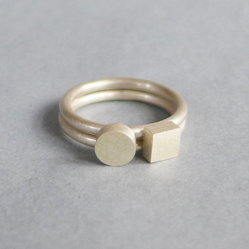 Square + Circle silver ring set - product images  of