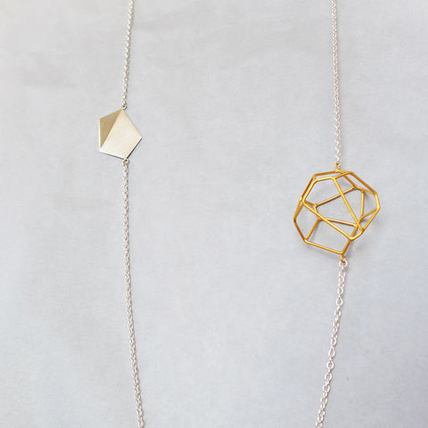 Etta,necklace,laila smith, geometric necklace, hexagon, geometry