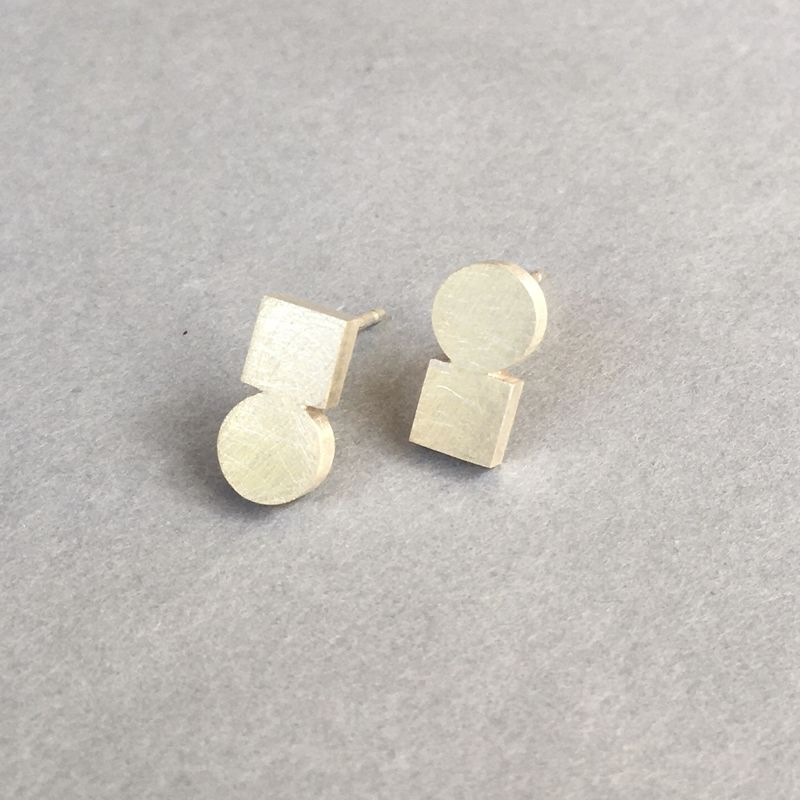 Circle + Square silver earrings - product images  of
