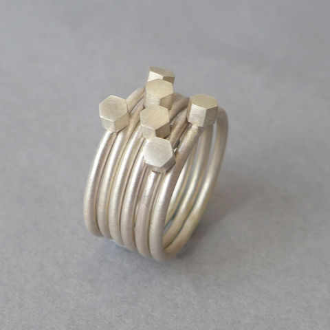 Silver,multi,hex,ring,set,ring set, hexagon, mathematics, geometric, present, gift, gifts for her, heirloom jewellery