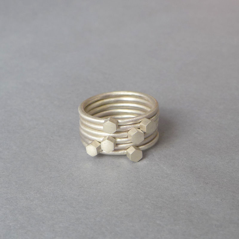 Silver multi hex ring set - product images  of