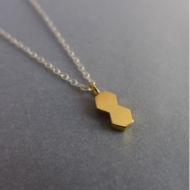 Small double hexagon necklace on 16