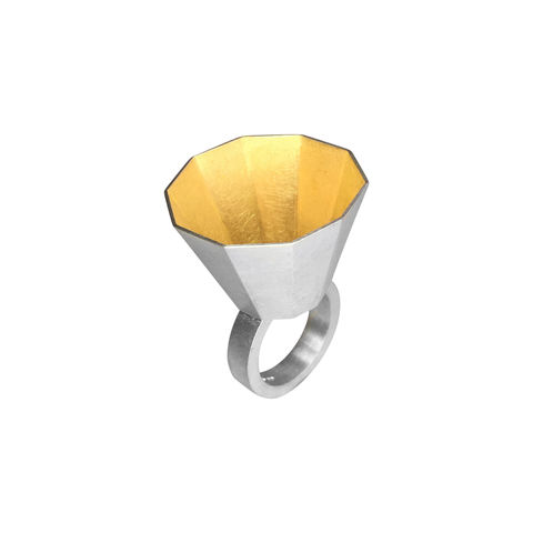 Golden,Cone,ring, cocktail ring, statement ring, geometric jewellery