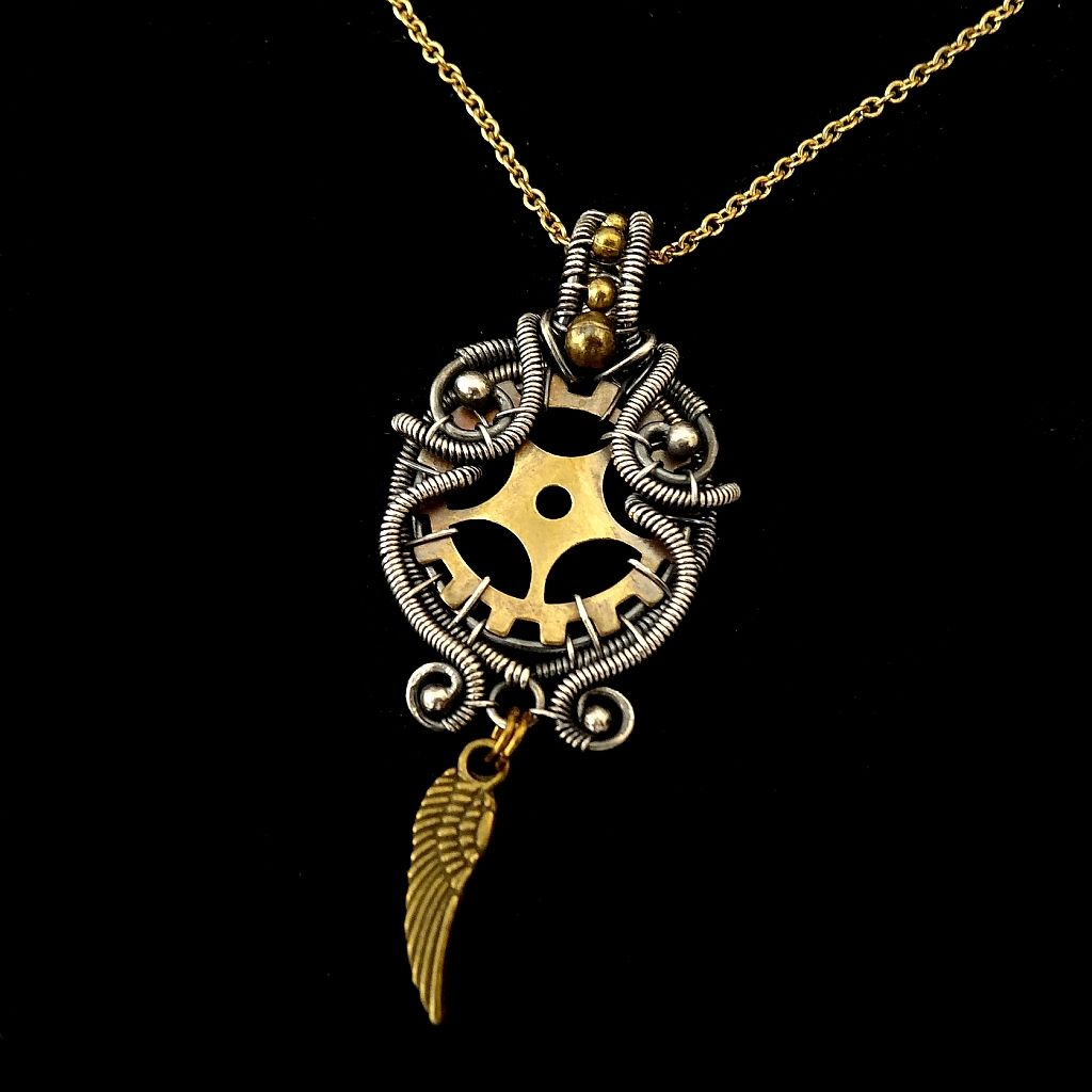 Steampunk Style Wire Wrapped Pendant by Mayahandmade - MayaHandmade
