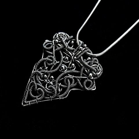 Wire,Wrapped,Sterling,Silver,Statement,Pendant,by,Mayahandmade,gothic, gothic style, statement pendant, sterling silver, silver pendant, triangle pendant, wire wrapped, handmade, mayahandmade