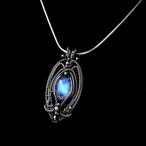 Gothic,Style,Pendant,With,Moonstone,by,Mayahandmade,gothic, gothic style, pendant, moonstone pendant, gemstone pendant, sterling silver, wire wrapped, handmade, mayahandmade