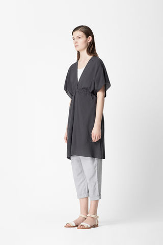 V-NECK,DRAWSTRING,DRESS