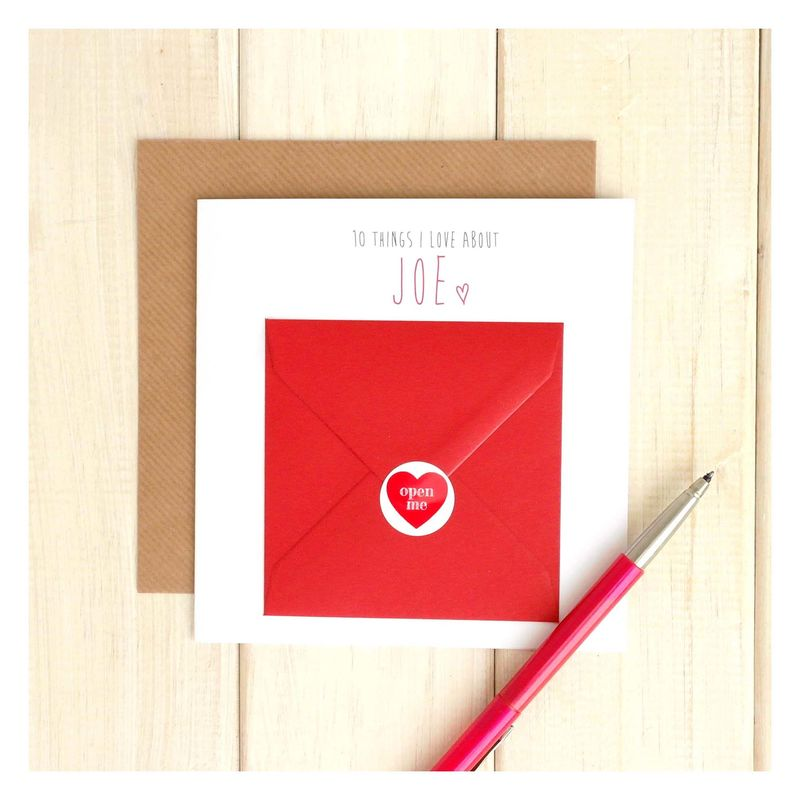 10 Things I Love About… Personalised Greetings Card - product images  of