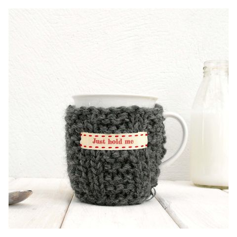Personalised,Knitted,Mug,Cosy,-,Charcoal,Grey,Personalised Mug Cosy, Knitted, Made in Britain, Mug and Cosy - Charcoal Grey Knitted Mug Cosy - Personalised Mug Cozy - Men's Gifts - Tea Lover Gift - Drink Warmer - Cup Warmer - Tea Cup