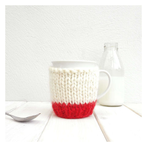 Colour,Block,Mug,Cosy,And,-,Red,Mug Cosy, Colour Block Mug Cosy, Tea, Mug and Knitted Cosy - Red and Cream Mug Cosy - Mug Cozy - Tea Cup Cosy - Coffee Cosy - Personalised Coffee Cosy - Coffee Addict Gift