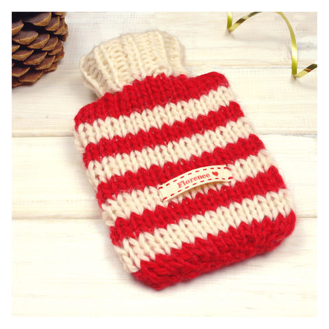 Hand,Knitted,Striped,Mini,Hot,Water,Bottle,And,Cover,-,Red,&,Cream,Stripe,Mini Hot Water Bottle. Cosy. Stripy, Stripe Hot Water Bottle - Chunky Knit Hot Water Bottle - Red and White Stripe Hot Water Bottle and Cover - Personalised Christmas Gift