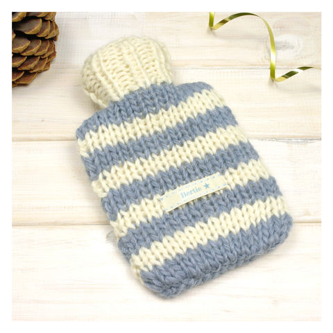 Hand,Knitted,Striped,Mini,Hot,Water,Bottle,And,Cover,-,Blue,&,Cream,Stripe,Mini Hot Water Bottle. Cosy. Stripy, Mini Hot Water Bottle and Cover - Blue Striped Hot Water Bottle Cover - Personalised Hot Water Bottle - Childrens Hot Water Bottle - Travel