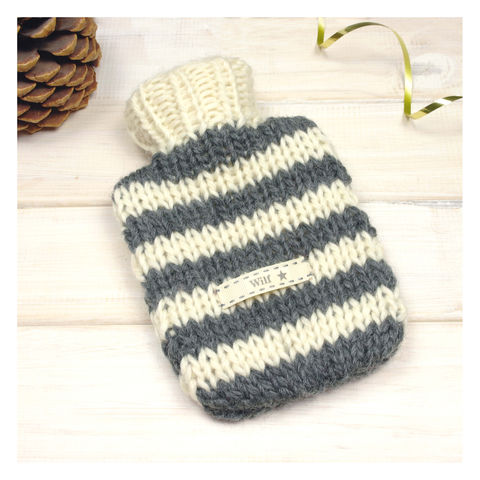 Hand,Knitted,Striped,Mini,Hot,Water,Bottle,And,Cover,-,Charcoal,&,Cream,Stripe,Mini Hot Water Bottle. Cosy. Stripey, Mini Hot Water Bottle and Cover - Black And White Striped Hot Water Bottle - Travel Hot Water Bottle - Personalised Hot Water Bottle Cover
