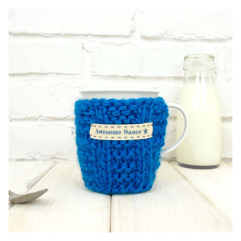 Personalised,Knitted,Mug,Cosy,-,Petrol,Blue,Personalised Mug Cosy, Knitted, Made in Britain, Mug and Cosy - Blue Knitted Mug Cosy - Chunky Mug Cosy - Hand Knitted Mug Cozy - Chunky Cosy - Tea Accessory - Gifts for Him - Tea Lover