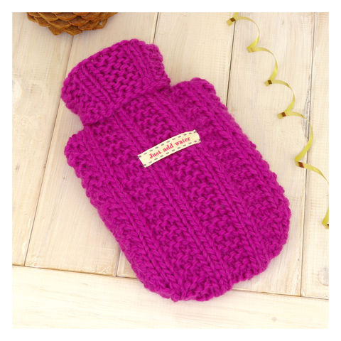 Personalised,Mini,Hot,Water,Bottle,And,Cover,-,Fuchsia,Pink,Hot Water Bottle Cover, Hot Water Bottle, Small Hot Water Bottle, Children's Hot Water Bottle, Hot Water Bottle Cover - Fuchsia Pink Hot Water Bottle - Chunky Hot Water Bottle and Cover - Personalised Hot Water Bottle and Cover