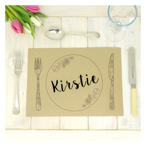 Personalised,Kraft,Wedding,Table,Place,Mats,Place Mat. Wedding Place Mats. Wedding Accessories, Personalised Kraft Wedding Table Place Mats - Floral - Geometric - Knife & Fork Table Setting - Birthday Party - Natural Rustic Eco Friendly